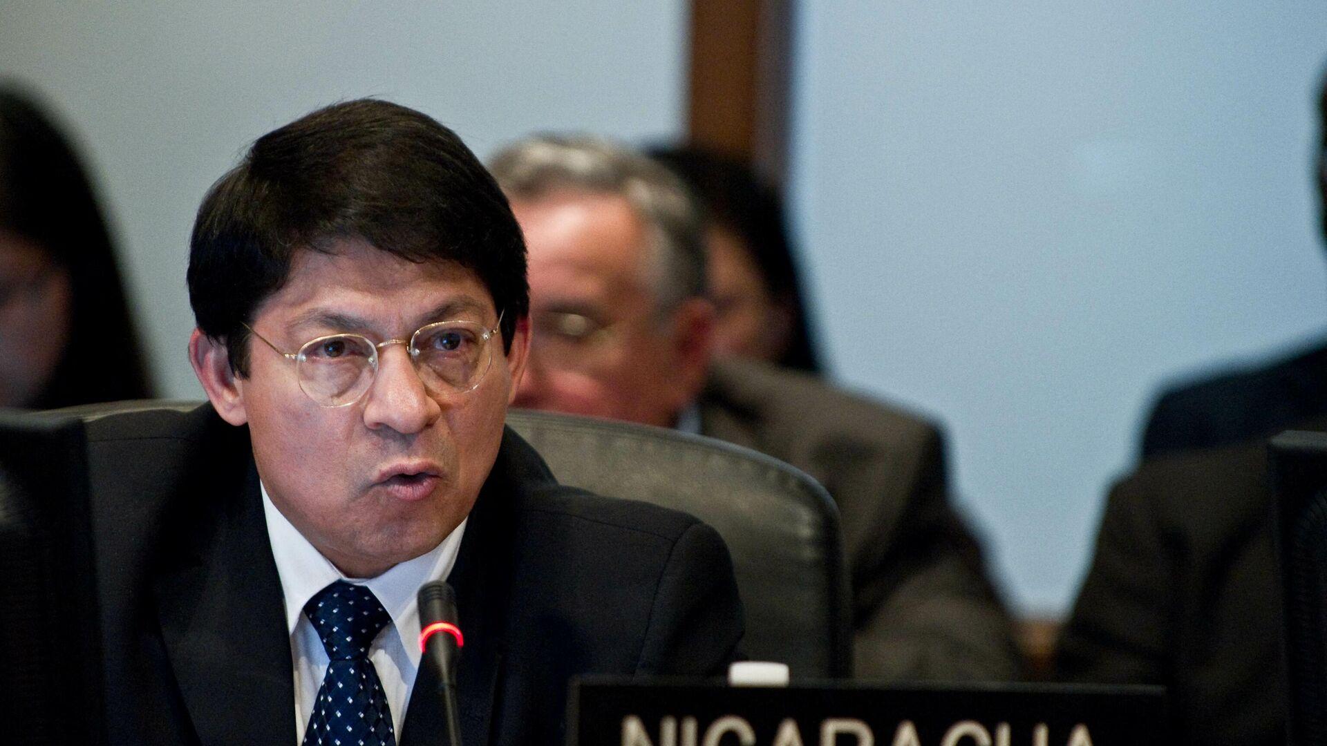 Canciller de Nicaragua, Denis Moncada, durante una reunión de la OEA en noviembre de 2010 - Sputnik Mundo, 1920, 27.06.2021