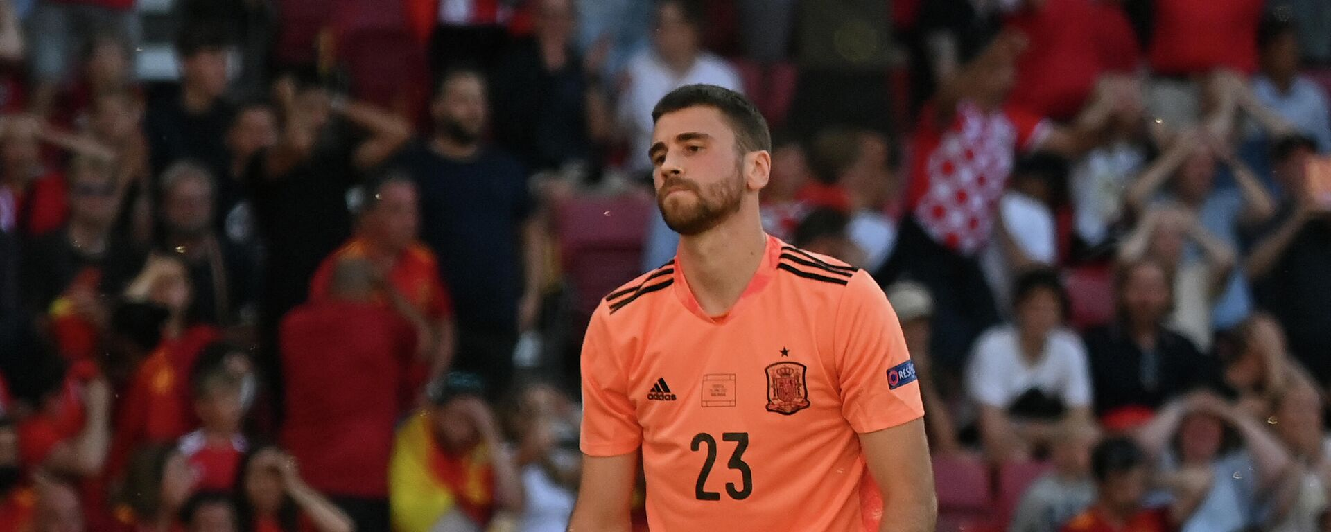 El portero de España, Unai Simón, durante el partido contra Croacia en la Eurocopa de 2021 - Sputnik Mundo, 1920, 28.06.2021