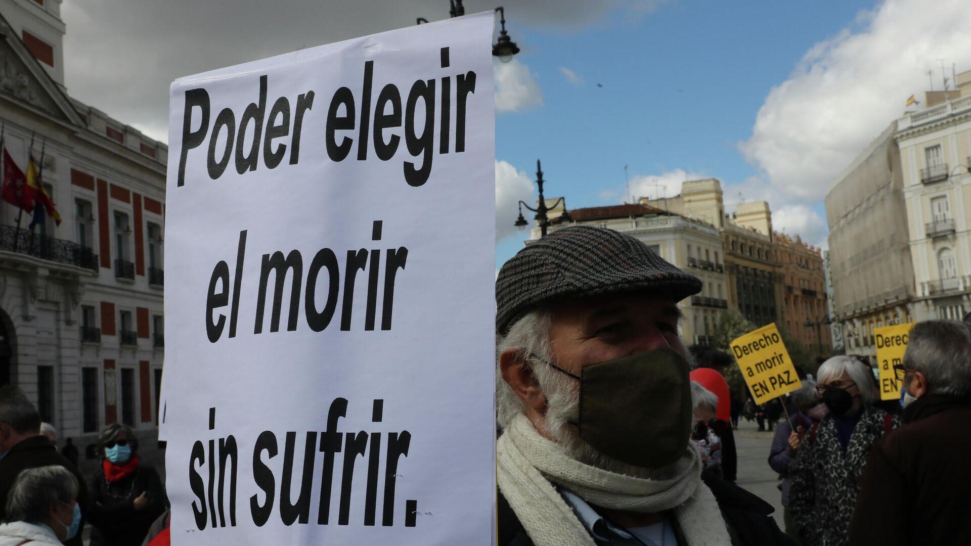 Conntración de Derecho a Morir Dignamente en la Puerta del Sol (Madrid) - Sputnik Mundo, 1920, 01.07.2021