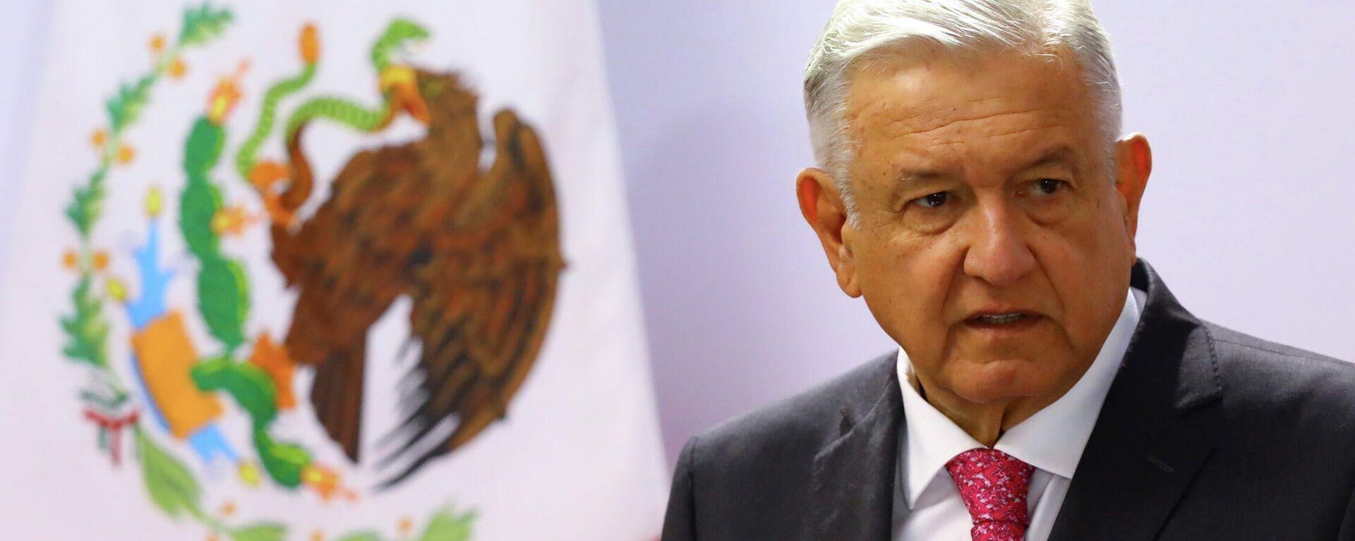 El presidente de México, Andrés Manuel López Obrador, durante el discurso del tercer aniversario de su triunfo en las elecciones 2018 - Sputnik Mundo, 1920, 15.07.2021