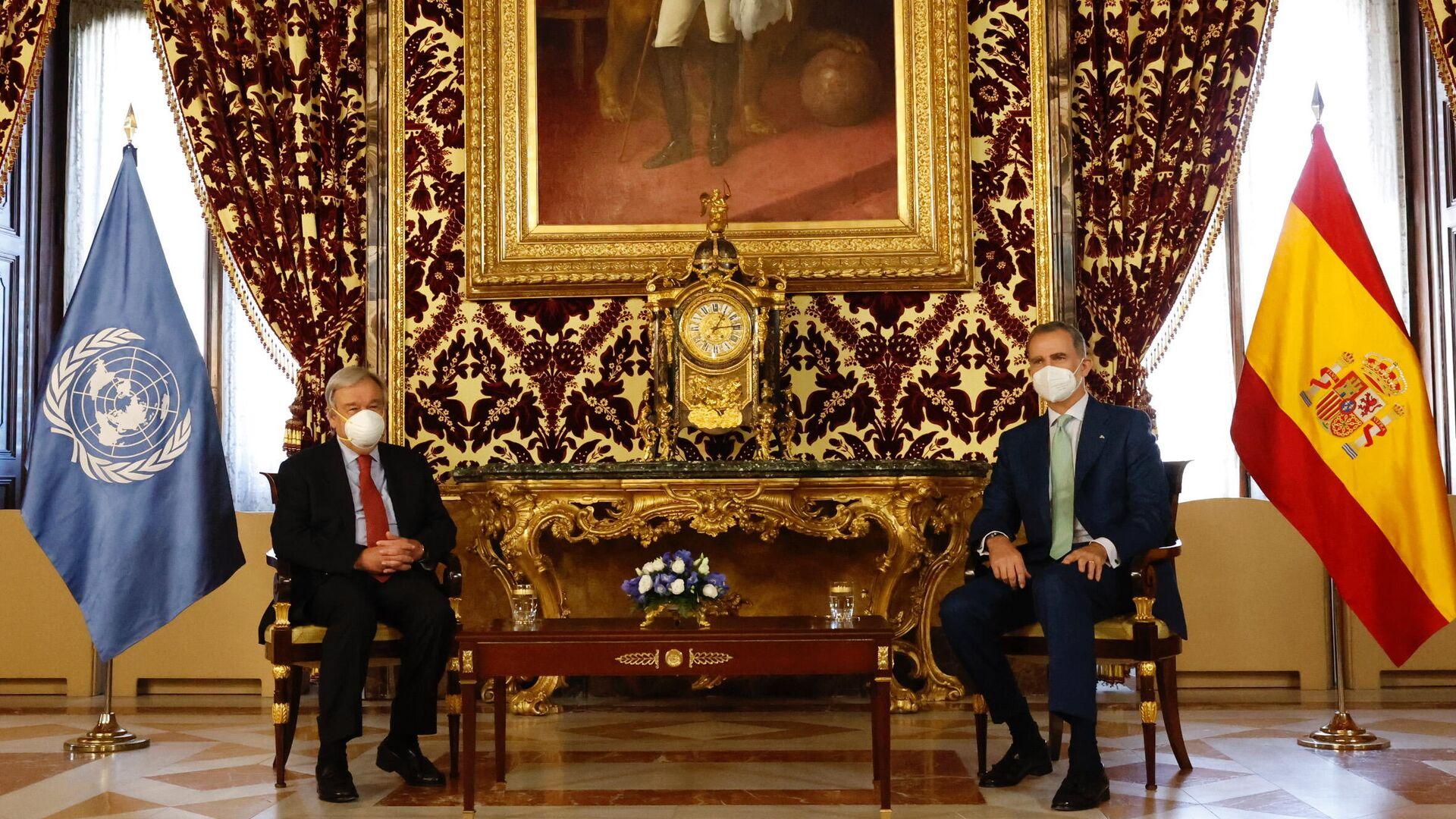 El secretario general de la ONU, António Guterres,  y  el rey de España, Felipe VI - Sputnik Mundo, 1920, 02.07.2021