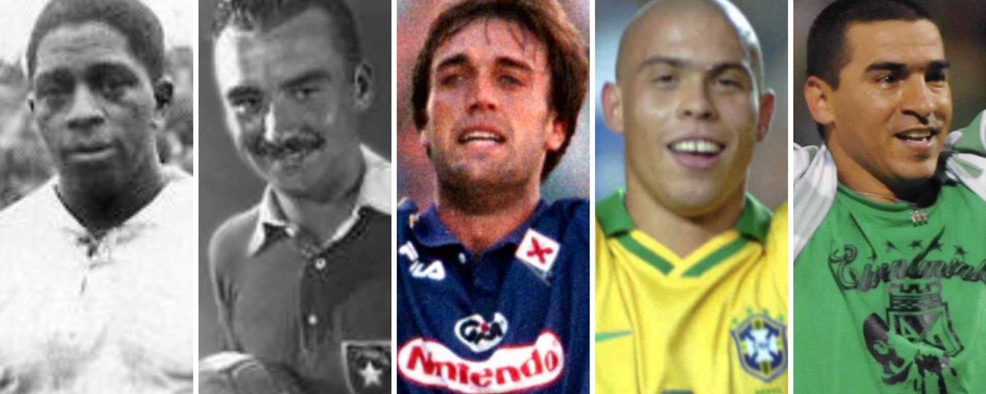 Los futbolistas Isabelino Gradín, Sergio Livingstone, Gabriel Batistuta, Ronaldo y Víctor Aristizábal - Sputnik Mundo, 1920, 03.07.2021