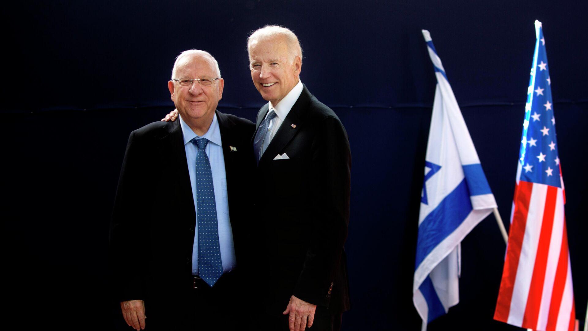 Reuven Rivlin, presidente de Israel, y Joe Biden, actual presidente de EEUU, en 2016 - Sputnik Mundo, 1920, 04.07.2021