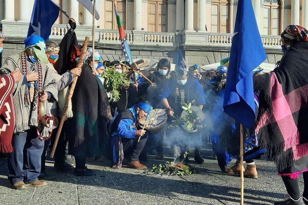 Rogativa mapuche a metros del ex Congreso - Sputnik Mundo