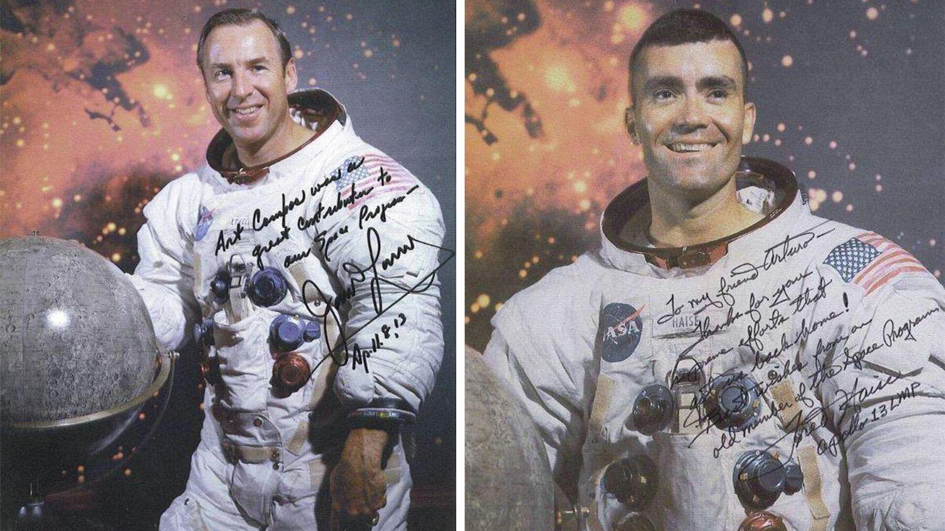 Fotografías autografiadas de los astronautas del Apolo 13 Jim Lovell y Fred Haise, dirigidas a Arturo Campos - Sputnik Mundo, 1920, 07.07.2021