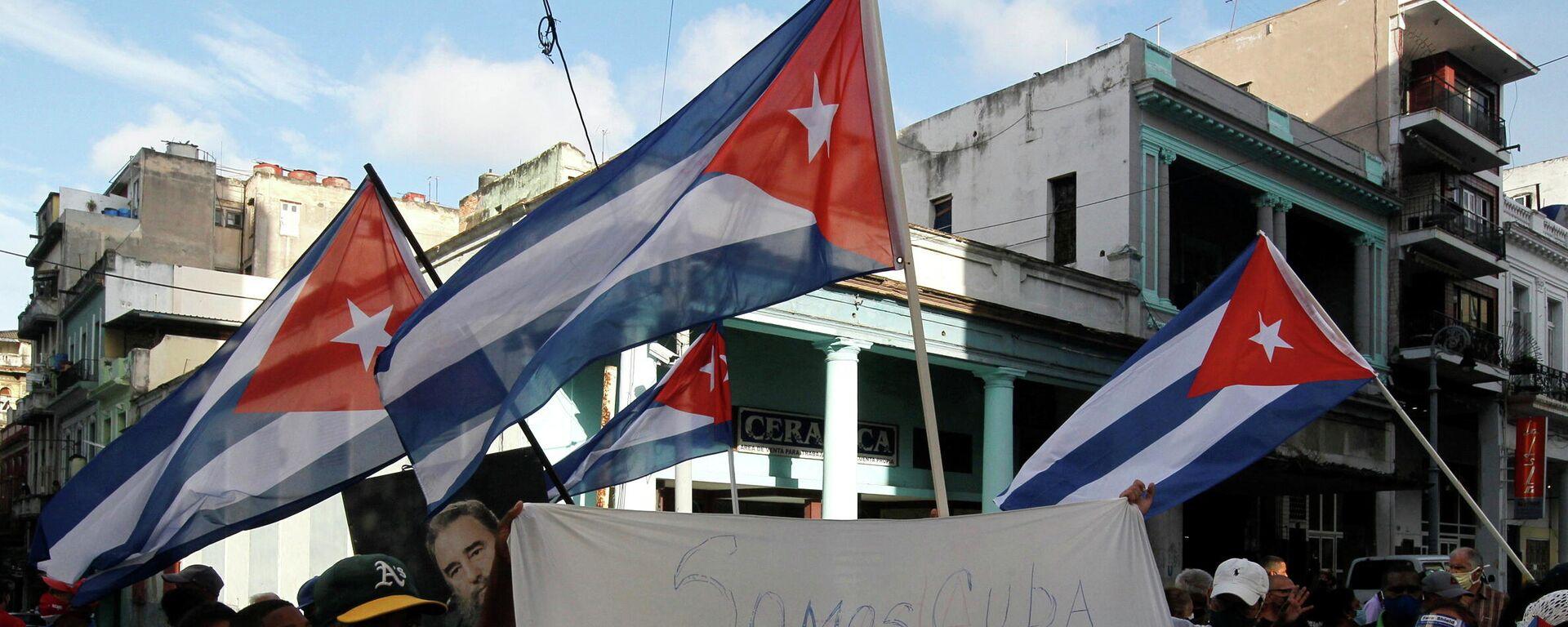 Manifestación de los partidarios del Gobierno de Cuba - Sputnik Mundo, 1920, 12.07.2021