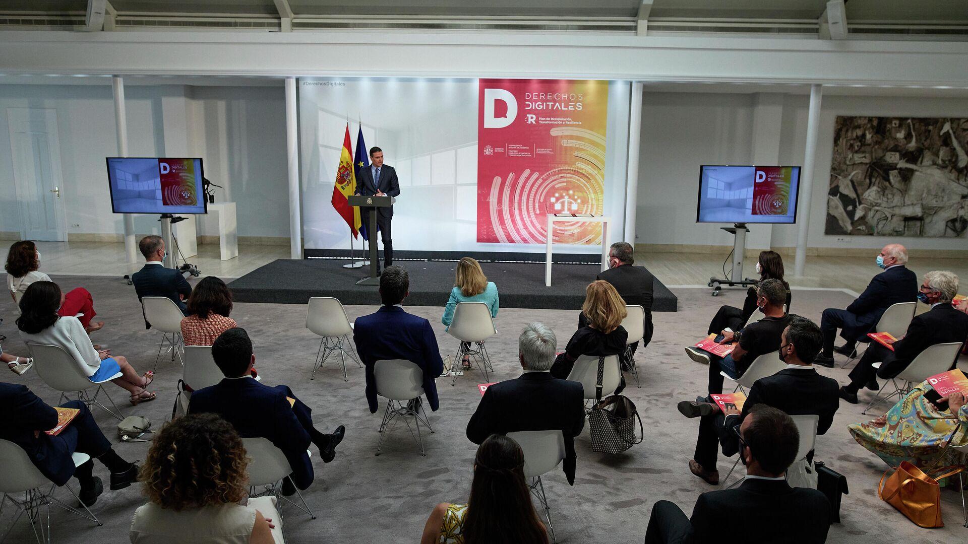 Pedro Sánchez presenta la Carta de Derechos Digitales en La Moncloa - Sputnik Mundo, 1920, 14.07.2021