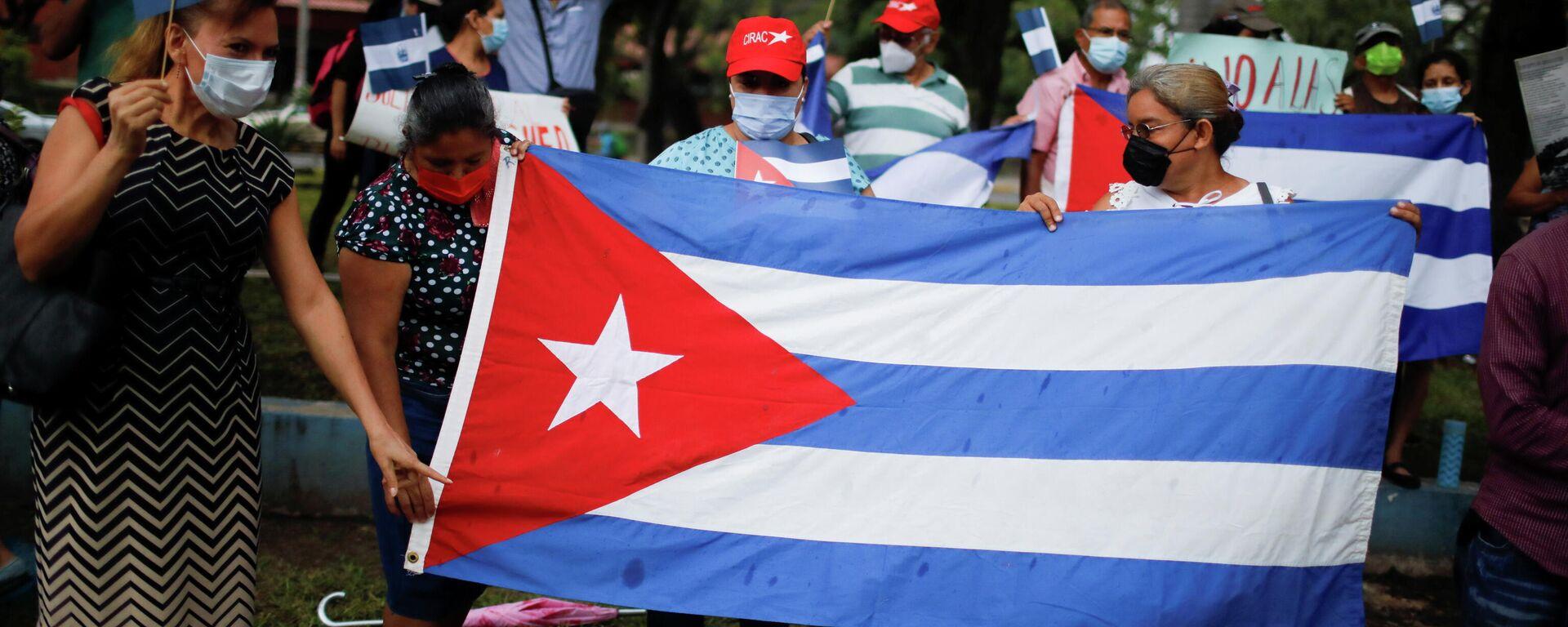 Una demonstración en apoyo del Gobierno de Cuba - Sputnik Mundo, 1920, 14.07.2021