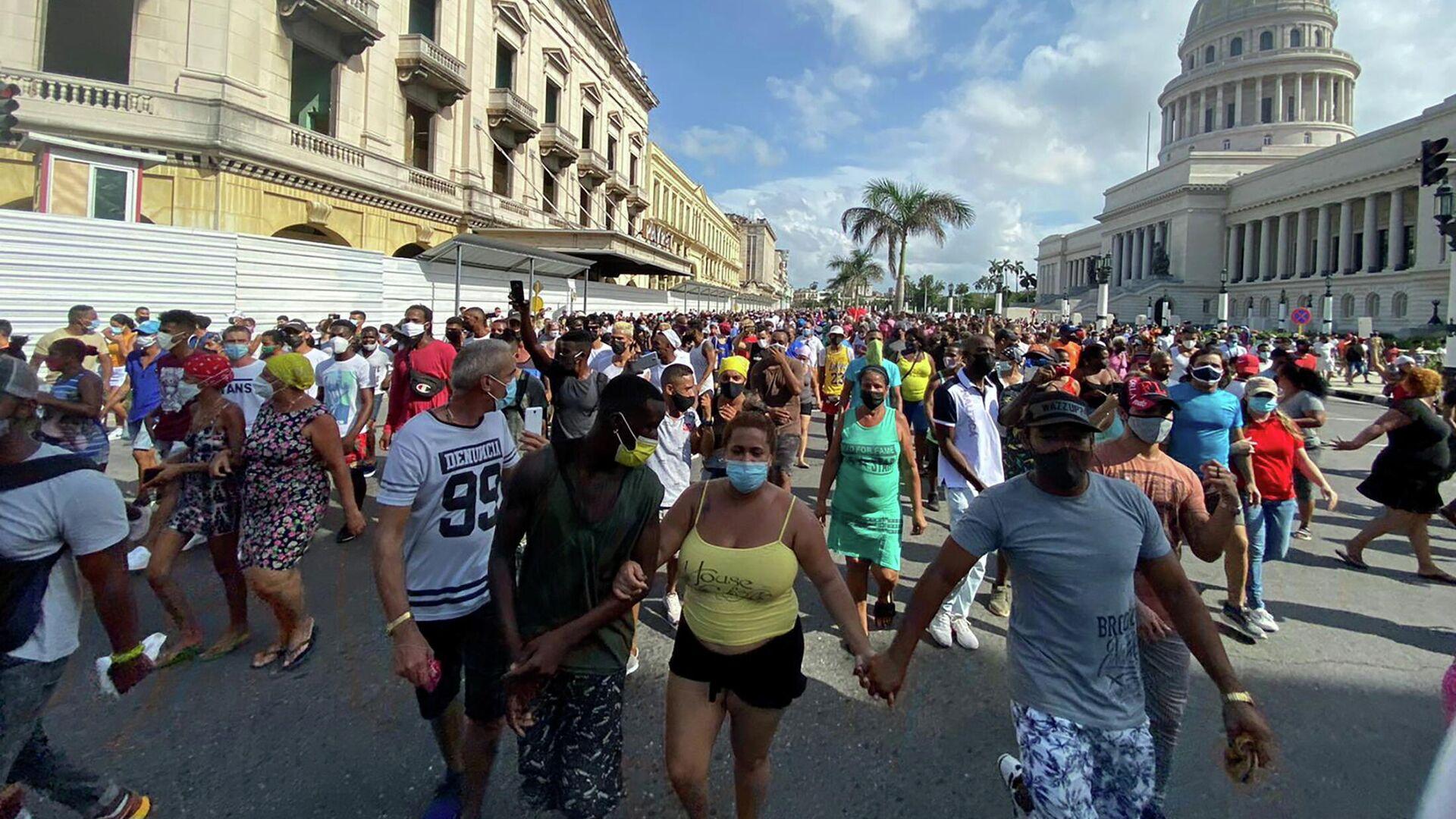 Manifestación en Cuba - Sputnik Mundo, 1920, 15.07.2021