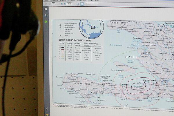 El mapa de Haití con la escala del terremoto de 2010 - Sputnik Mundo