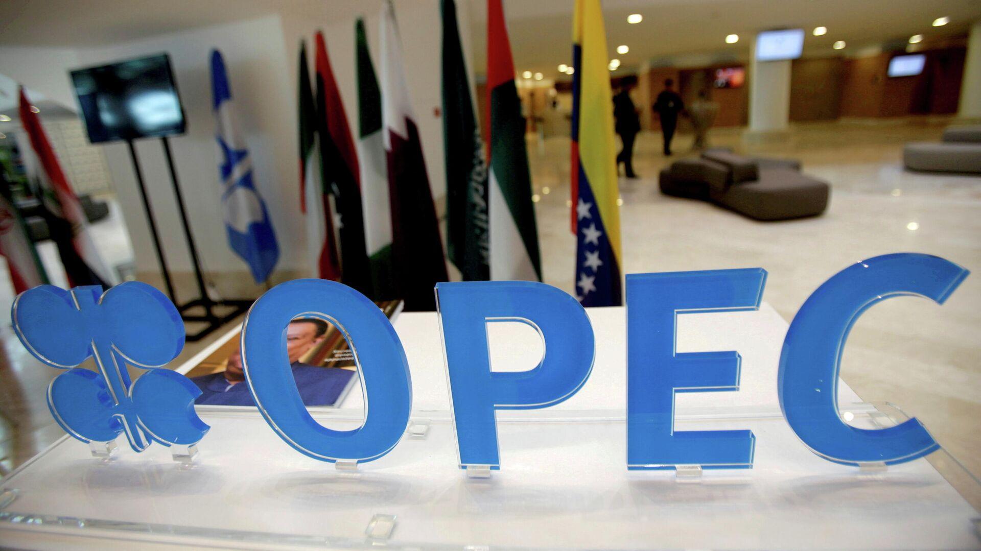 El logotipo de la OPEP antes de una reunión informal entre miembros de la Organización de Países Exportadores de Petróleo (OPEP) en Argel, Argelia, el 28 de septiembre de 2016/ Foto de archivo - Sputnik Mundo, 1920, 18.07.2021