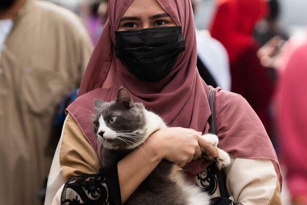 Se recomienda pasar la noche del Eid al Adha en adoración, ya que en esta noche el dios responde a las oraciones de sus siervos.En la foto: una mujer musulmana con un gato en la Mezquita Azul de Taguig, Filipinas. - Sputnik Mundo