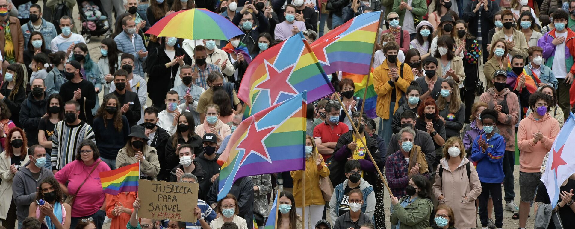 Concentración contra agresiones LGTBfóbicas, a 9 de julio de 2021, en A Coruña, Galicia  - Sputnik Mundo, 1920, 22.07.2021