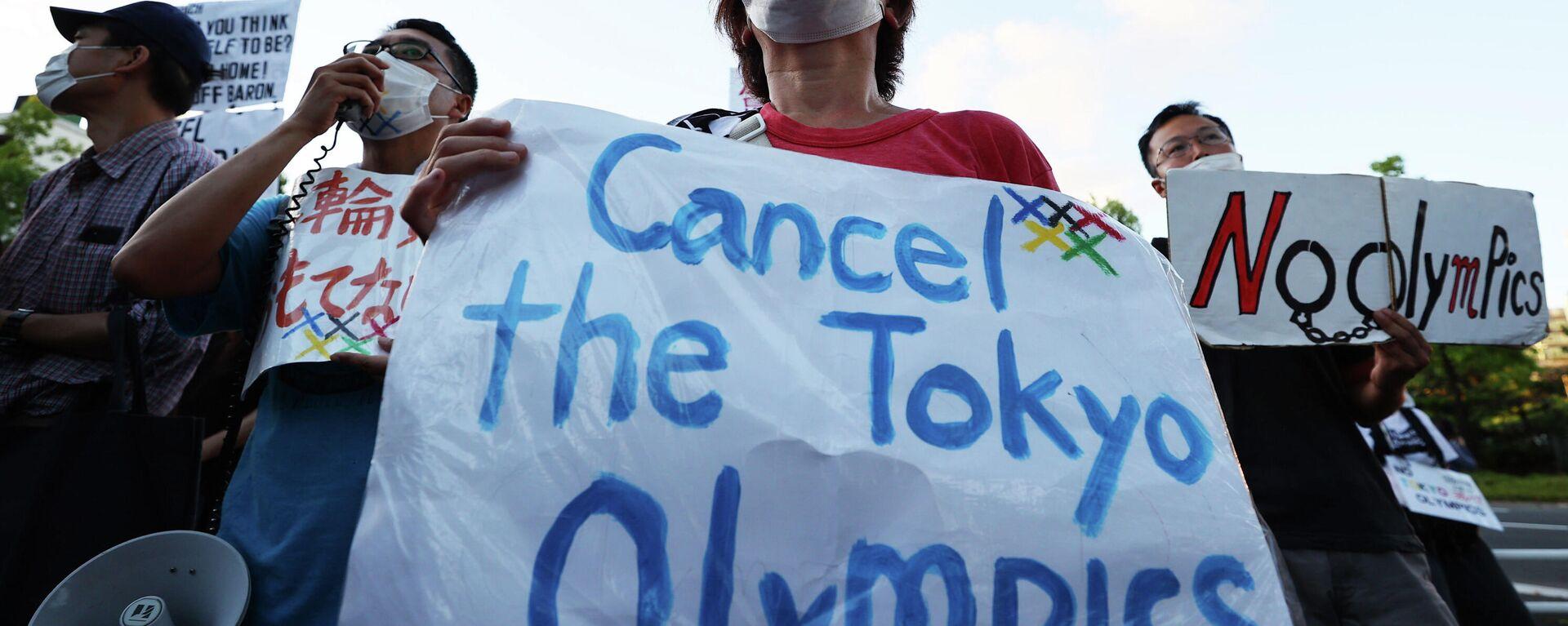 Manifestantes protestan contra la realización de los Juegos Olímpicos de Tokio - Sputnik Mundo, 1920, 23.07.2021