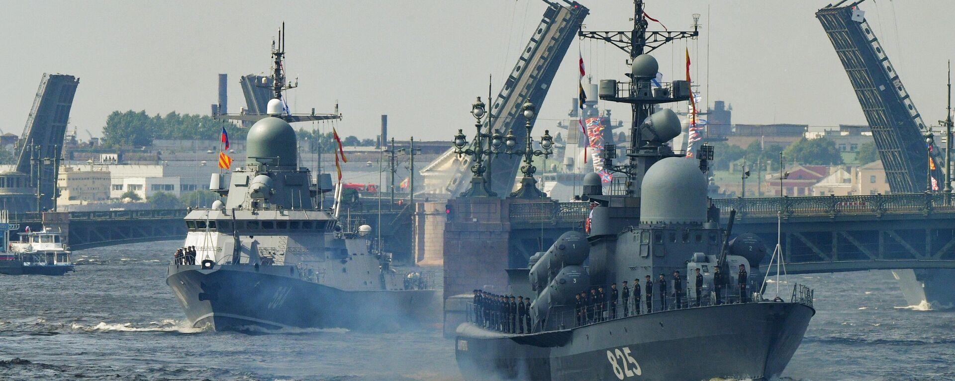 El ensayo del desfile naval con motivo del 325 aniversario de la Armada de Rusia en San Petersburgo - Sputnik Mundo, 1920, 25.07.2021