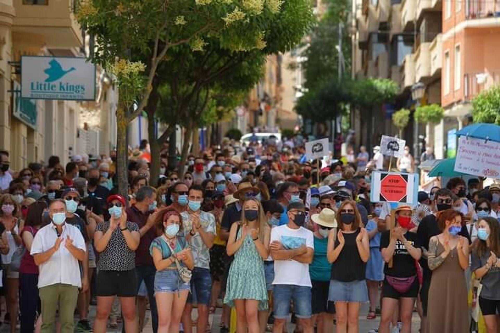 Manifestación contra la instalación de una macrogranja en Yecla, al sureste de España - Sputnik Mundo, 1920, 26.07.2021