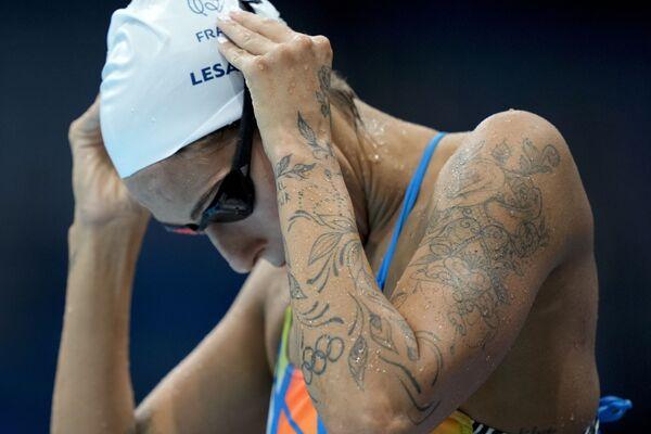 La nadadora francesa Fantine Lesaffre, durante una sesión de entrenamiento en el Centro Acuático de Tokio. - Sputnik Mundo