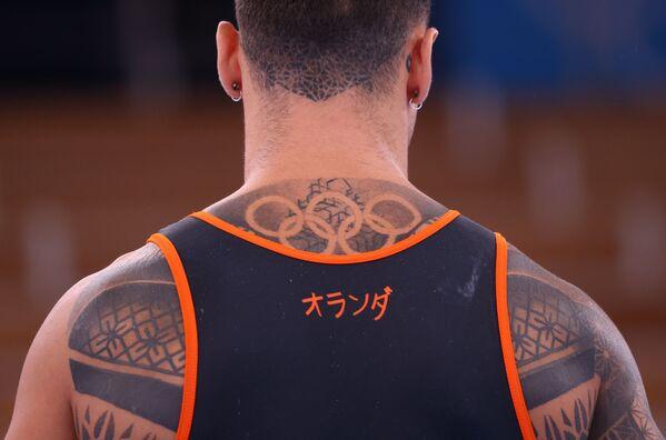 Un representante del equipo nacional de gimnasia artística holandesa durante una sesión de entrenamiento en el Centro de Gimnasia Ariake en Tokio. - Sputnik Mundo