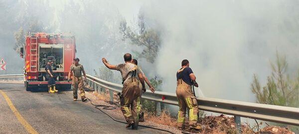 Las autoridades turcas están investigando las causas de los incendios forestales que azotan el sur del país y no se descarta la versión de que resulten premeditados. En la foto: un grupo de bomberos trabaja en la extinción de los incendios. - Sputnik Mundo
