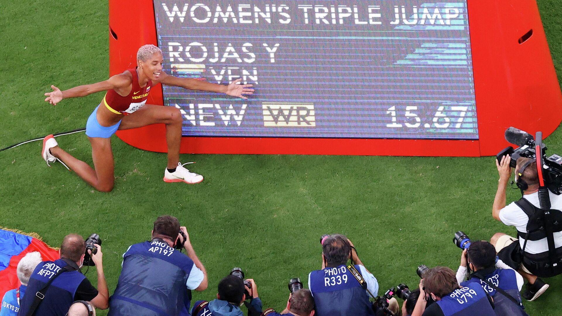La saltadora de longitud venezolana Yulimar Rojas establece un nuevo récord olímpico y mundial - Sputnik Mundo, 1920, 01.08.2021