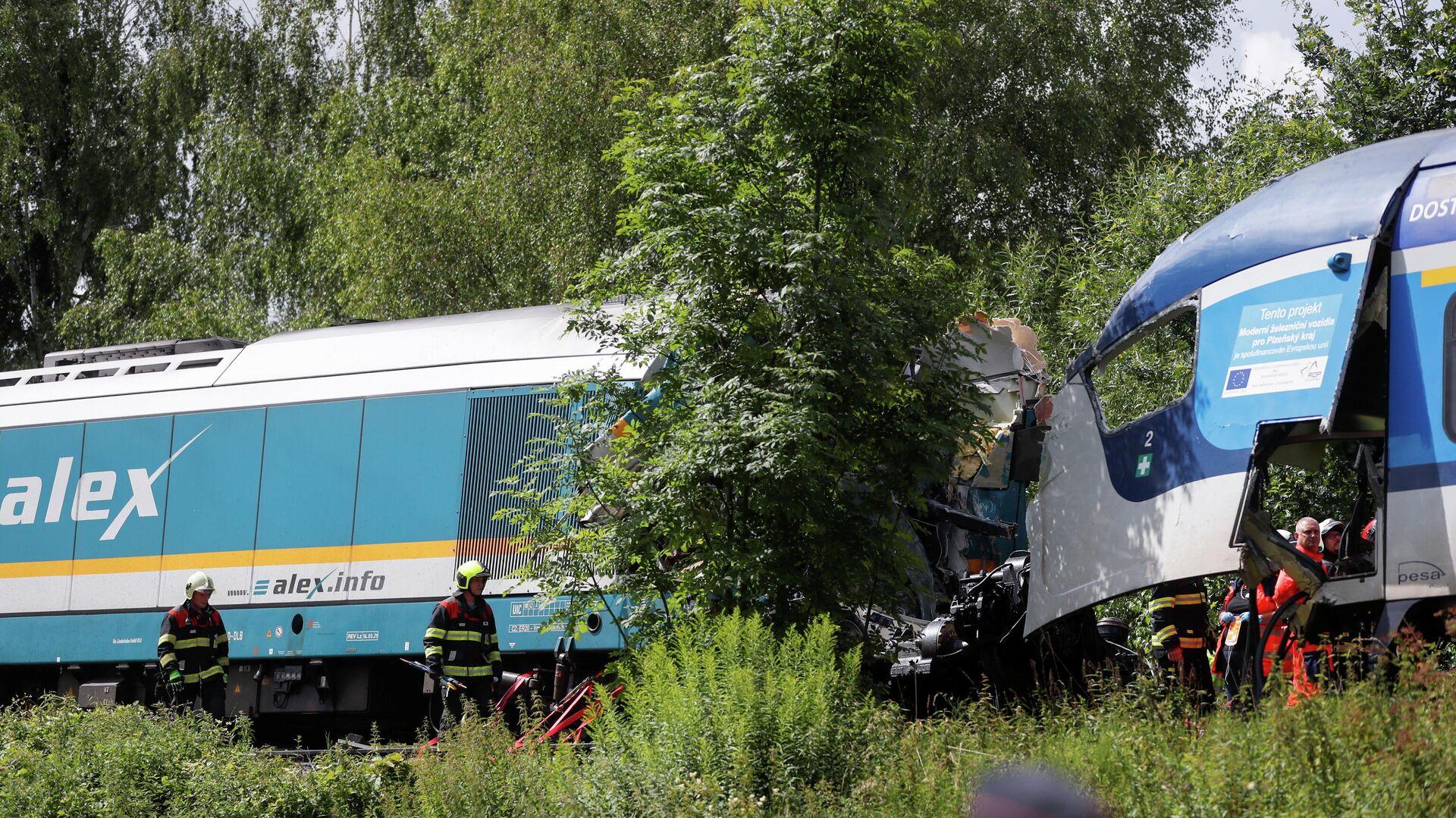 Lugar del choque de trenes en Chequia - Sputnik Mundo, 1920, 04.08.2021