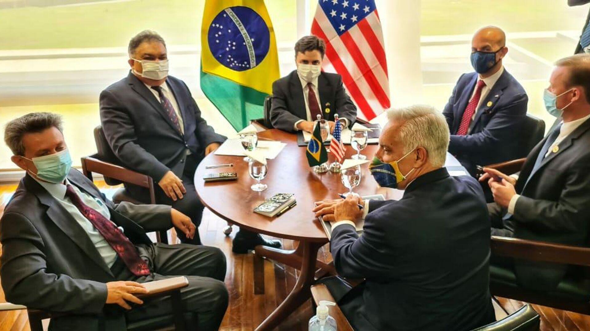 El secretario de Seguridad de EEUU, Jake Sullivan en una reunión con el secretario especial para Asuntos Estratégicos del Gobierno brasileño, Flavio Rocha - Sputnik Mundo, 1920, 05.08.2021