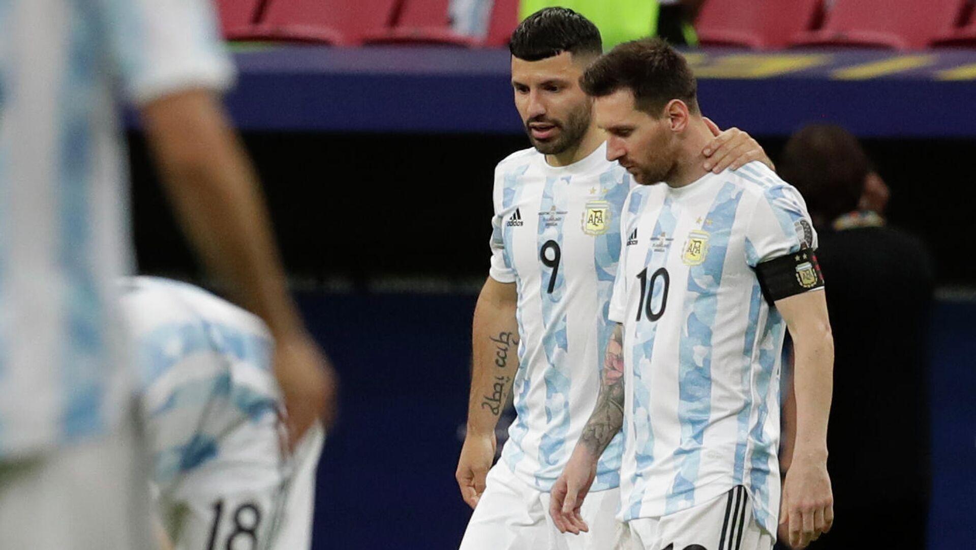 Los argentinos Sergio 'Kun' Agüero y Lionel Messi, juntos en la selección argentina durante la Copa América 2021 - Sputnik Mundo, 1920, 24.08.2021