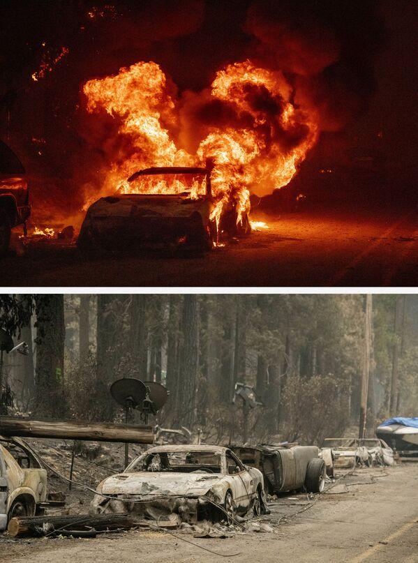 Un auto en llamas (arriba) el 24 de julio de 2021 y lo que quedó del mismo tras el incendio el 7 de agosto de 2021. - Sputnik Mundo