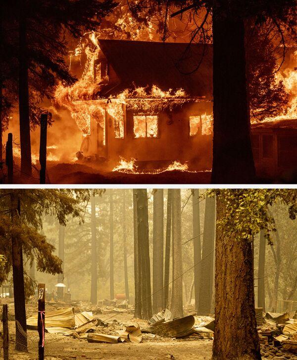 Una casa en llamas el 24 de julio de 2021 y sus ruinas dos días después, el 26 de julio, debido al incendio de Dixie en el vecindario de Indian Falls del condado no incorporado de Plumas. - Sputnik Mundo