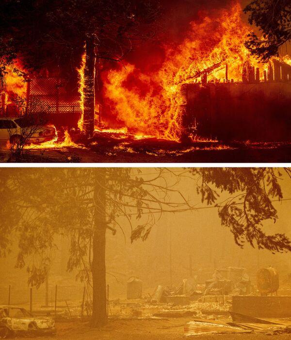 Una casa en llamas el 5 de agosto de 2021 (arriba) y sus ruinas (abajo) tras el incendio de Dixie el 6 de agosto de 2021, Greenville, California. - Sputnik Mundo