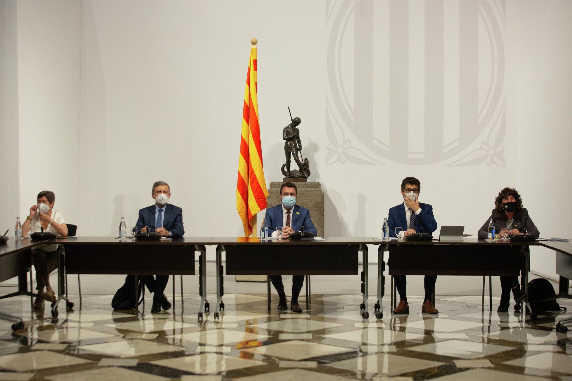 El president de la Generalitat, Pere Aragonès, preside una reunión de la mesa institucional, a 14 de junio de 2021, en Barcelona, Catalunya (España).  - Sputnik Mundo, 1920, 09.08.2021