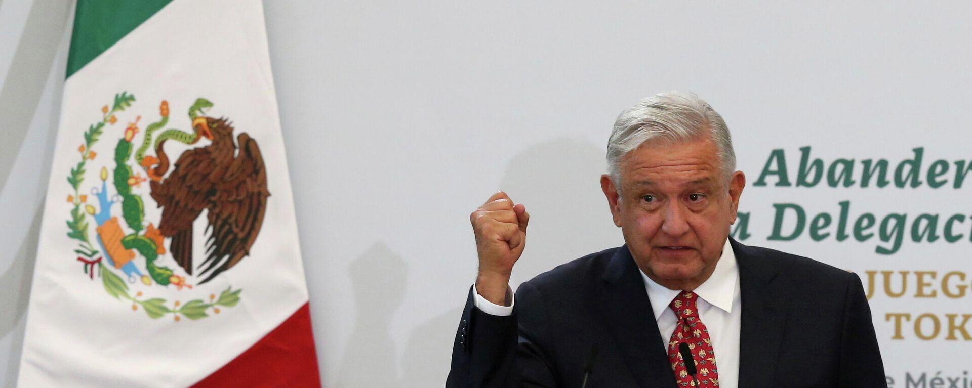El presidente de México, Andrés Manuel López Obrador, pronuncia un discurso durante una ceremonia previa a los Juegos Olímpicos de Tokio 2020, en la Ciudad de México, México, el 5 de julio de 2021 - Sputnik Mundo, 1920, 10.08.2021