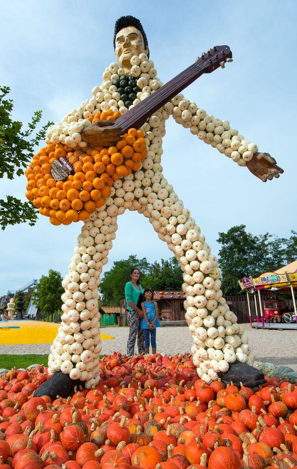 La inesperada muerte del cantante en 1977, cuando tenía solo 42 años, desató rumores de suicidio.En la foto: una escultura de Elvis hecha de calabazas se exhibe en una granja en Klaistow (Alemania), el 27 de agosto de 2015. - Sputnik Mundo