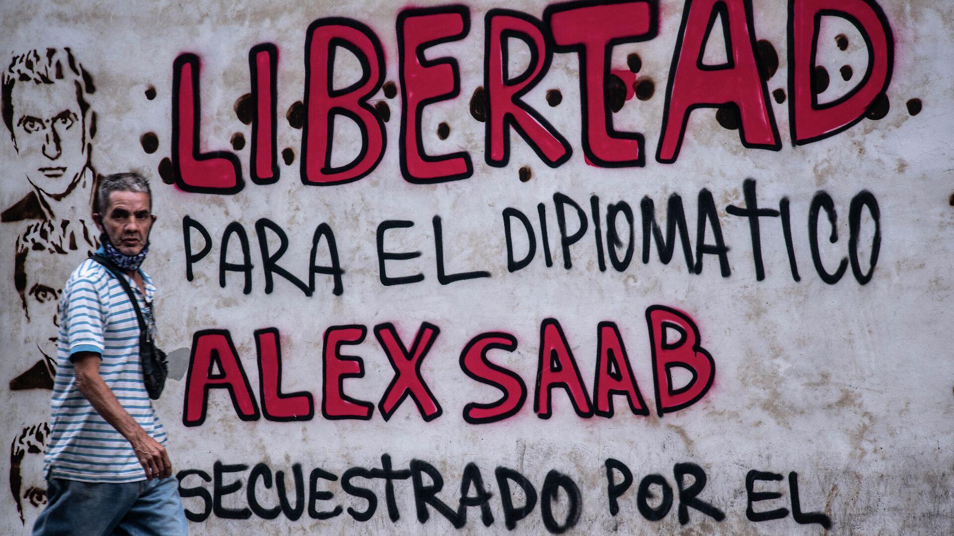 Un grafiti en Caracas en reclamo por la libertad de Alex Saab, detenido en Cabo Verde - Sputnik Mundo, 1920, 07.09.2021