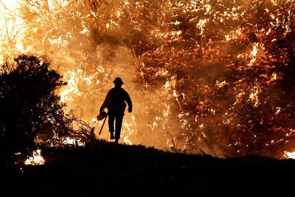 Un bombero durante los trabajos de extinción del incendio Grizzly Flats en California (EEUU). - Sputnik Mundo