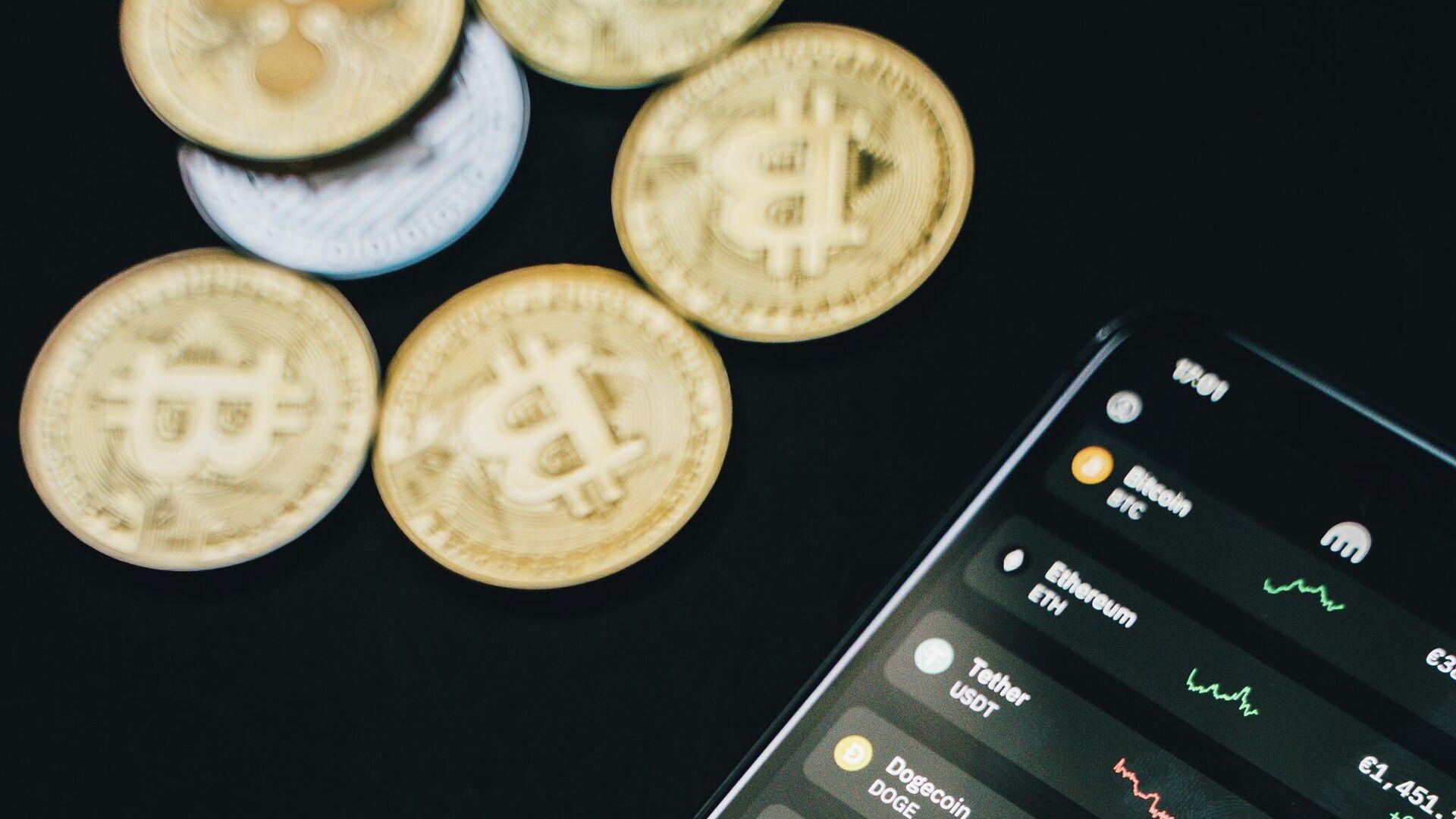 Imagen referencial de app sobre bitcoin - Sputnik Mundo, 1920, 09.09.2021