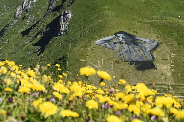 Una obra de Saype en la pista de esquí de Chaux-de-Mont sobre la estación alpina de Leysin (Suiza) en 2016. Fue considerada la pintura biodegradable más grande de la historia con 100x100 metros. - Sputnik Mundo