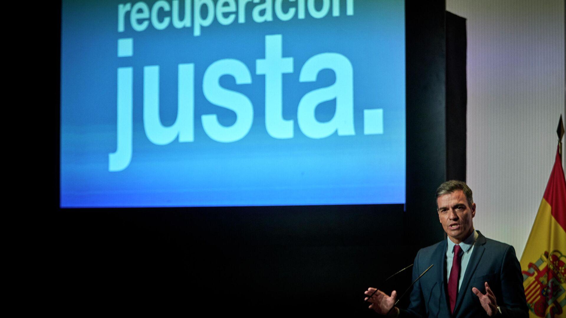 El presidente del Gobierno, Pedro Sánchez, interviene en un acto para abrir el nuevo curso político. - Sputnik Mundo, 1920, 01.09.2021