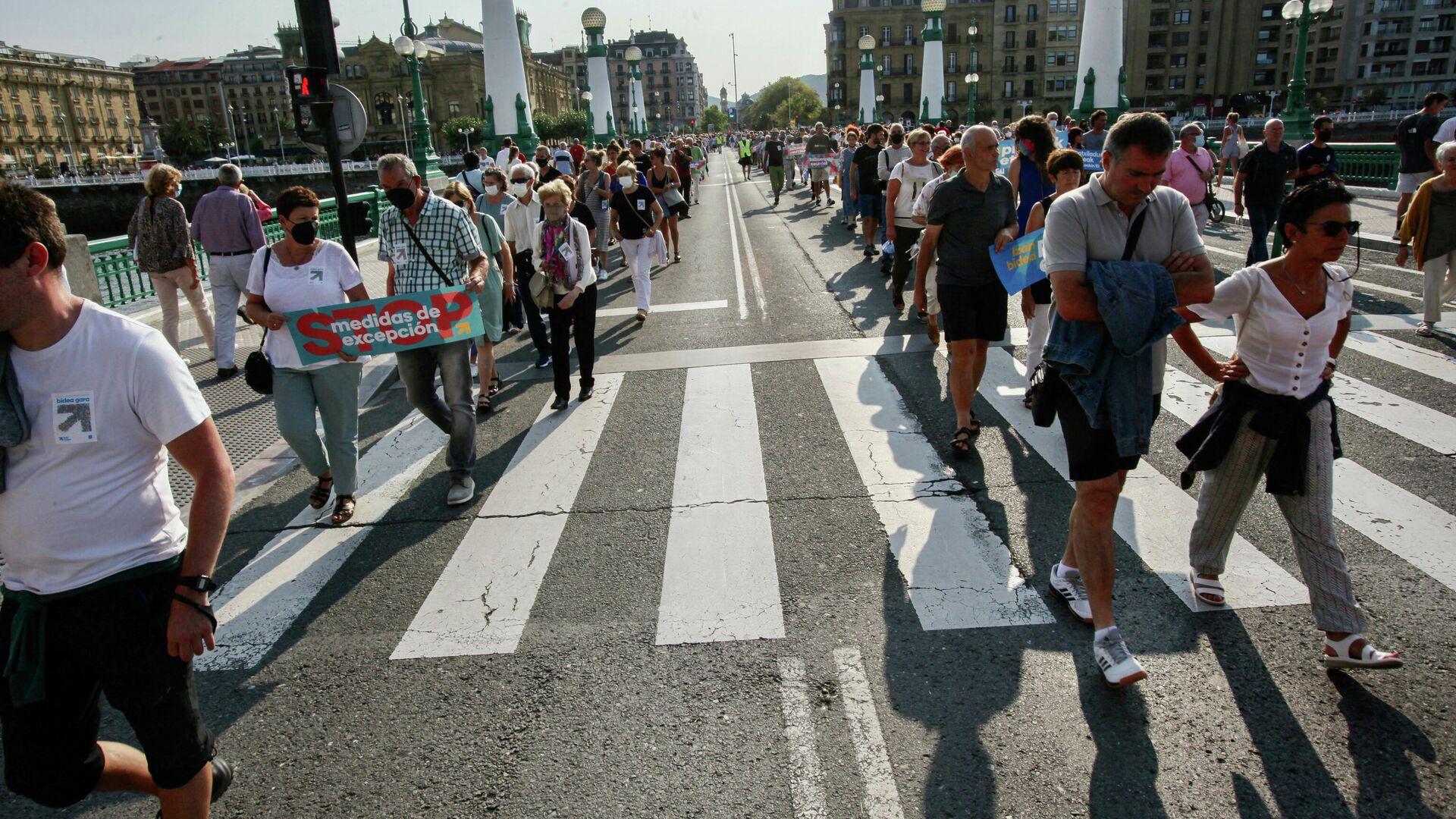 Ciudadanos en una manifestación a favor del acercamiento de los reclusos de ETA, a 21 de agosto de 2021, en San Sebastián, Euskadi (España).  - Sputnik Mundo, 1920, 03.09.2021