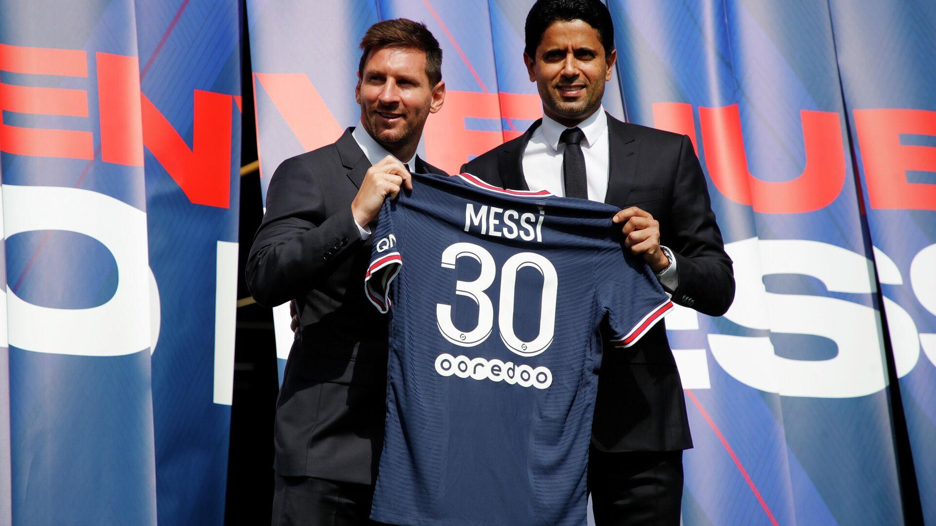 Lionel Messi y el presidente del PSG, Nasser Al-Khelaifi - Sputnik Mundo, 1920, 07.09.2021