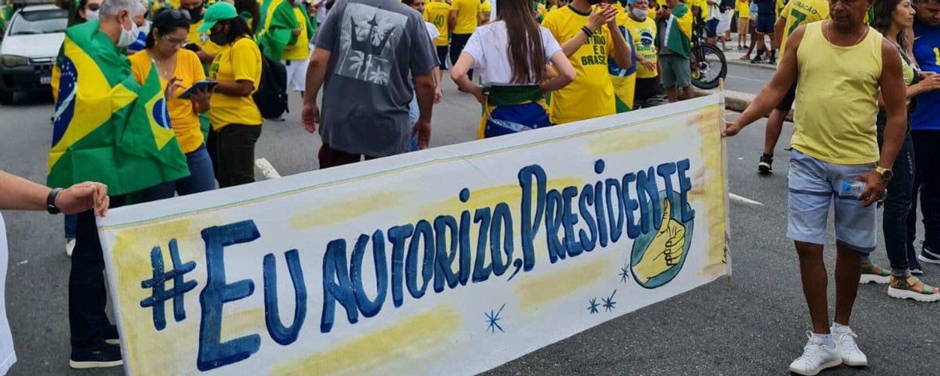 La manifestación en la playa de Copacabana, Río de Janeiro - Sputnik Mundo, 1920, 07.09.2021