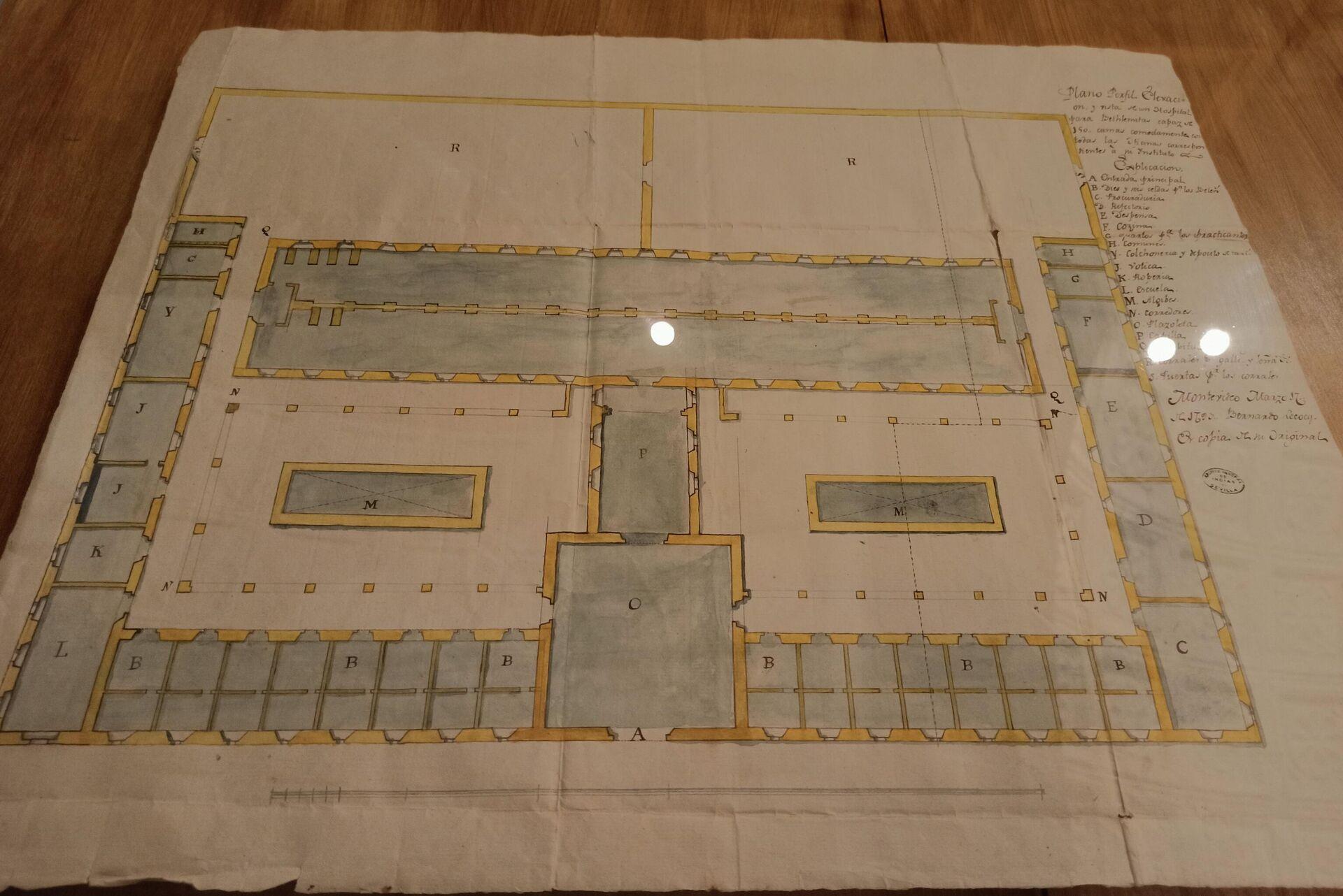 Plano, perfil y elevación del hospital de Montevideo con 150 camas - Sputnik Mundo, 1920, 10.09.2021