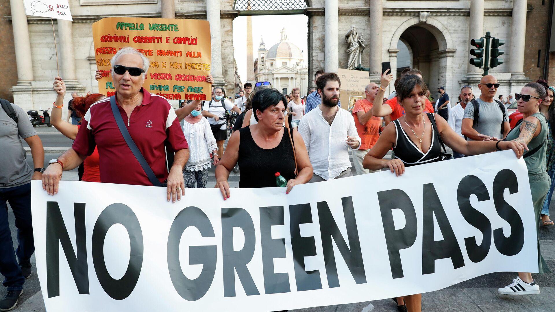 Protestas contra el pase sanitario en Italia - Sputnik Mundo, 1920, 10.09.2021