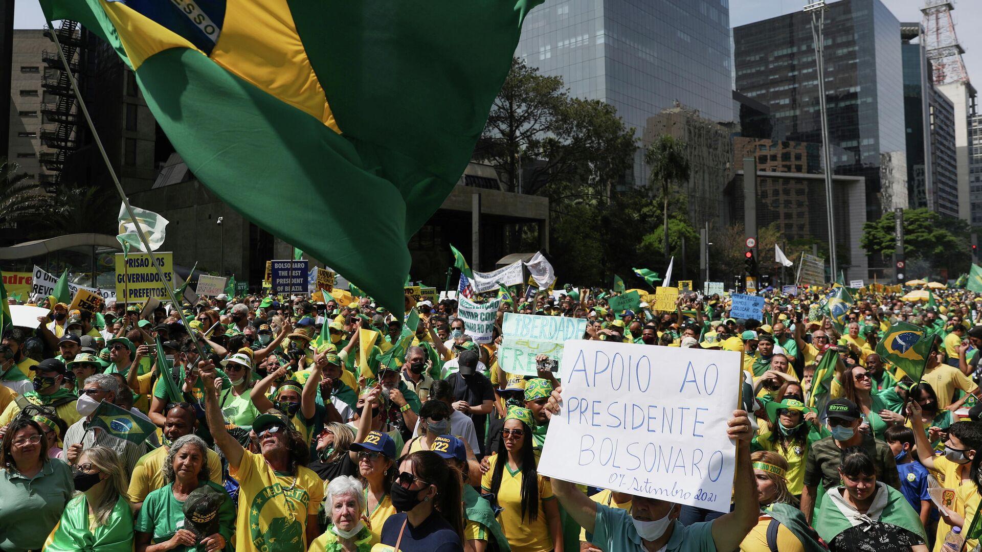 Manifestación a favor del presidente de Brasil Jair Bolsonaro en Sao Paulo, Brasil - Sputnik Mundo, 1920, 15.09.2021