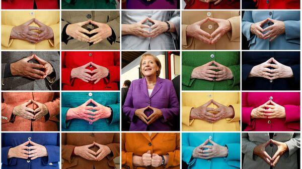 Комбинированный снимок знаменитого жеста рук Ангелы Меркель  - Sputnik Mundo