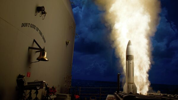 September 18, 2013: An SM-3 Block 1B interceptor is launched from the USS Lake Erie during a MDA test and successfully intercepted a complex short-range ballistic missile target off the coast of Kauai, Hawaii. - Sputnik Mundo