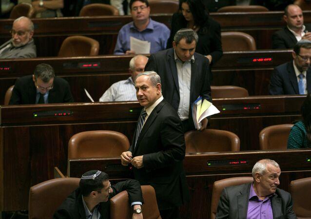 Премьер-министр Израиля Биньямин Нетаньяху на заседании Кнессета