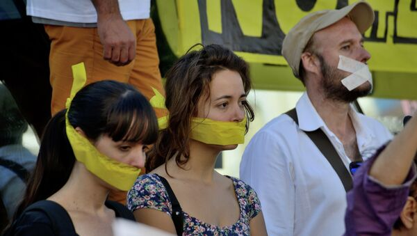 Protesta contra la ley mordaza (archivo) - Sputnik Mundo