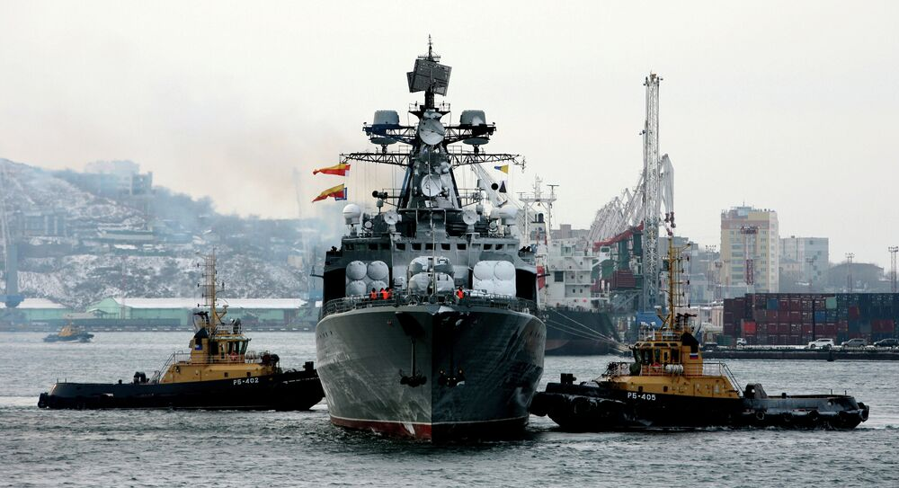 Большой противолодочный корабль Маршал Шапошников прибывает после выполнения задач боевой службы во Владивосток