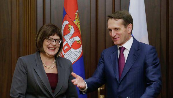 Presidenta del Parlamento de Serbia Maja Gojkovic y presidente del parlamento de Rusia Serguéi Narishkin - Sputnik Mundo